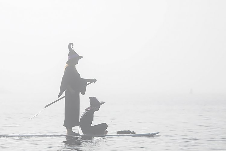 Witches Paddle Board in Haunted Harbor at Redondo Beach California
